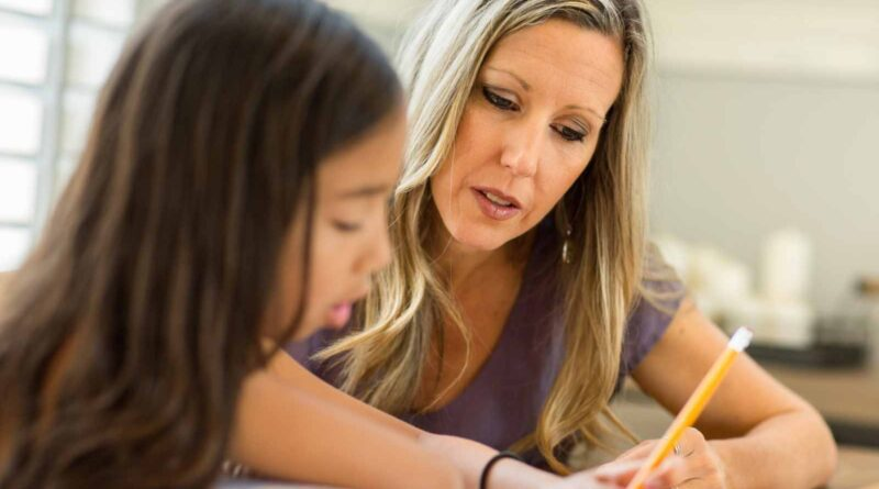Teacher working closely with elementary student