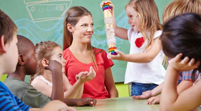 Kindergarten teacher with students in classroom